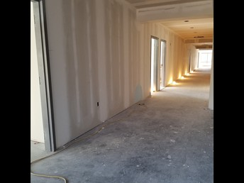 A look down the new classroom hallway, looking west