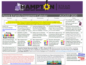 Parent and Family Engagement Calendar
