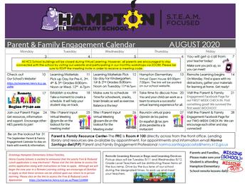 Calendario de Eventos Para Participación de los Padres