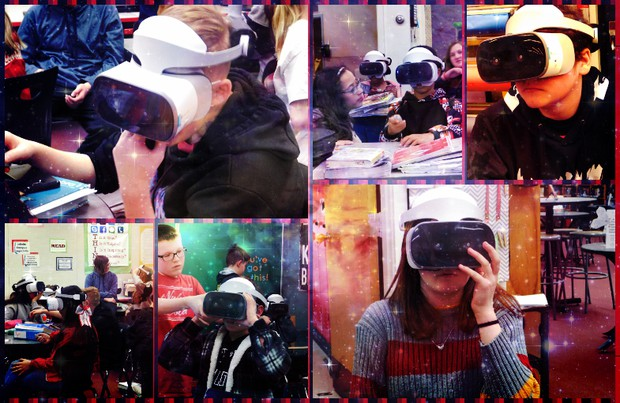 Students trying VR Goggles