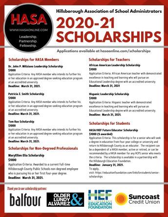 HASA Scholarship Information 2020-21