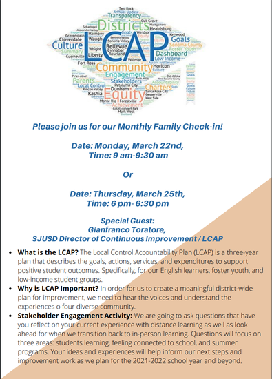 Special Education Family Check in flyer - LCAP Parent/Student input sessions with Director of LCAP & Director of Special Education. Click for meeting details.