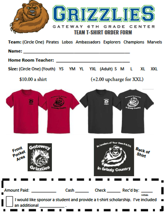 Team T-Shirt Order Form