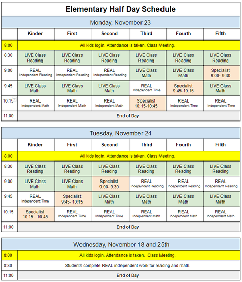 Half Day Schedule - Elem