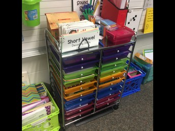 Marlene's organization of teaching items at her table area.