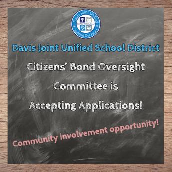 Bond Oversight Committee Application Deadline January 22, 2021
