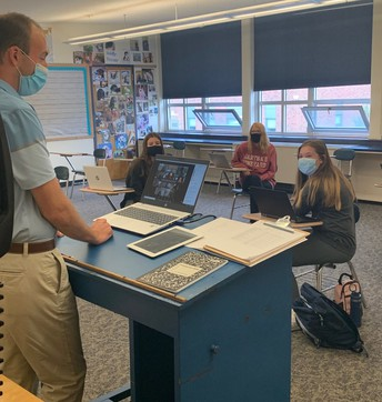 Mr. Matisoff connects with students at home and in class.