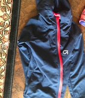 Blue jacket with red zipper