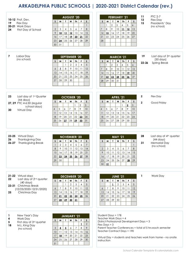 2020-21 APSD Printable School Calendar