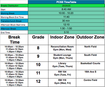 PCSS Timetable and Break Locations