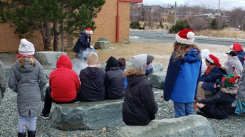 Mme Brunet in the outdoor classroom with dry ice