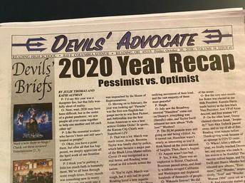Devils Advocate front page - 2020 Recap headline