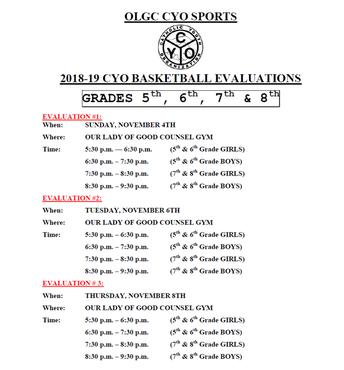 2018 OLGC CYO Evaluation Schedule