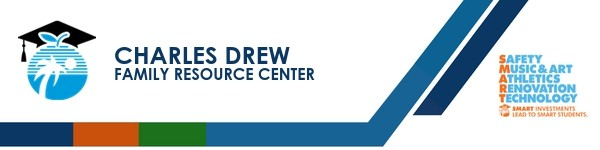 A graphic banner that shows Charles Drew Family Resource Center's name and SMART logo