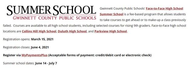 Link to GCPS summer school website.