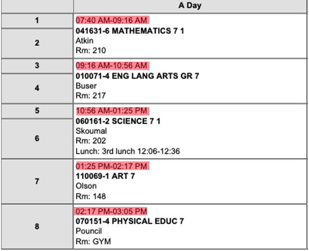 Sample Student Schedule - follow the times highlighted in red beginning October 5th.