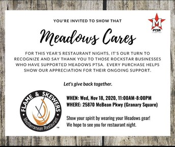 Meadows Cares Restaurant Night on 11/18 at Flames and Skewers