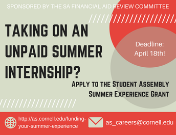 Apply to the Student Assembly Summer Experience Grant!
