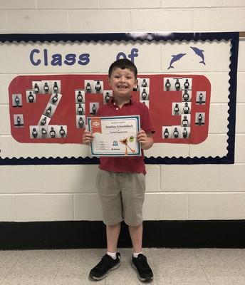 Congrats to Jonathan Schnadelbach, Top Math Diagnostic Score, Mrs. Allen's Class