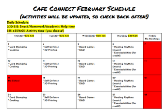 February After School Programming in Cafe Connect