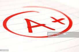 Graphic of an A+ in red circled.