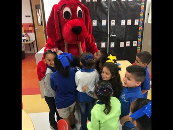 Mrs. Gow's class jumped to hug Clifford!