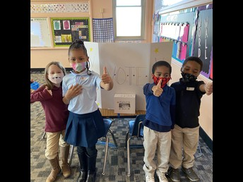 First Graders vote for Ms. Fonte!