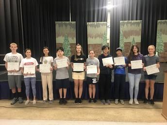 6th Grade Science Award winners