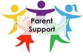"Image of 5 people yellow, red, purple, blue and green with the words ""Parent Support"""