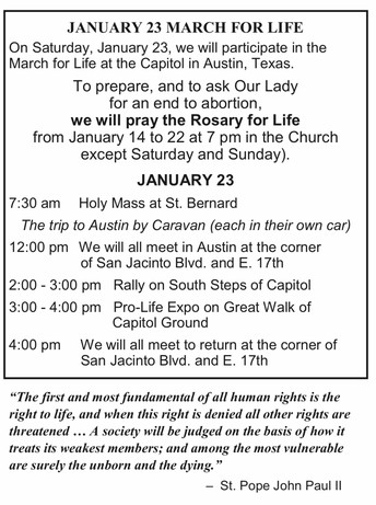 March For Life - SATURDAY, JANUARY 23RD