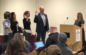 New Board of Education Members being sworn in at a November 2019 Board of Education Meeting