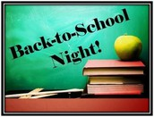 Back to School Night - Thursday, Sept. 14th @7:00PM