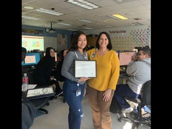 11th Grade student of the month (December) Alma Cano-Solorio