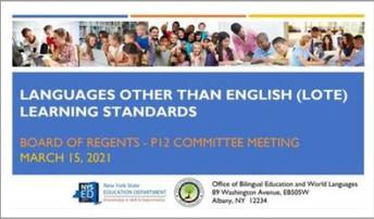 New World Language (LOTE) Standards