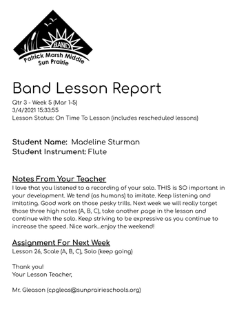 A Note About Band Lessons