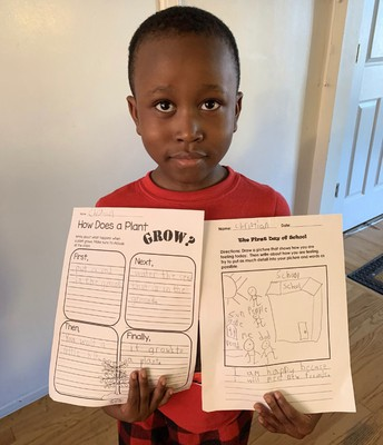 Writing about our first day of Kindergarten!
