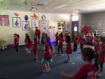 PreK participating in the Boosterthon Dancing Duel!