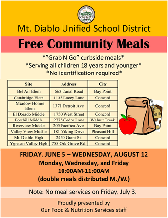 Free Community Meals will continue at Foothill MS