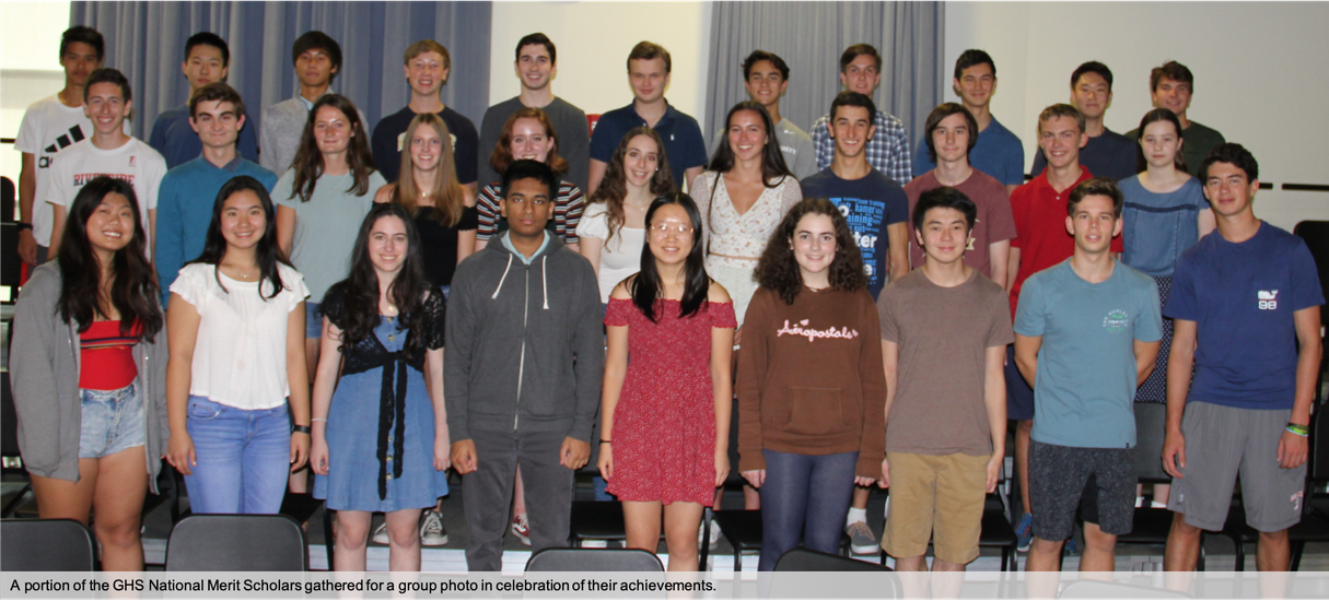 Group photo of a portion of GHS National Merit Scholar Recipients