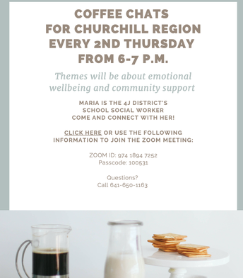 Coffee Chats for Churchill Region every 2nd Thursday