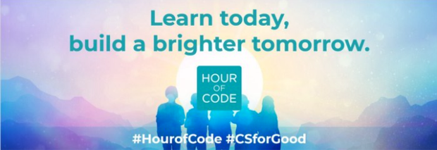 "Code.org 2020 Hour of Code #CSforGood theme glowing sun with text ""learn today, build a brighter tomorrow."""