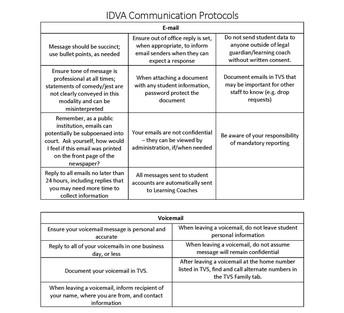 IDVA Communication Protocols, part 1