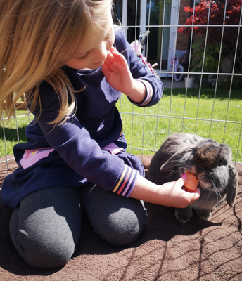 Jessica learns about the care of her rabbits Fudge and Sooty