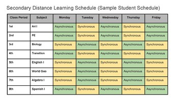 Secondary Distance Learning Schedule (Sample)