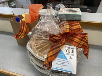 Three Thanksgiving pies donated to our staff from The Vibrant Church!