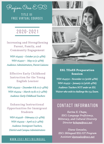 Title III Courses Now Available at ESC1
