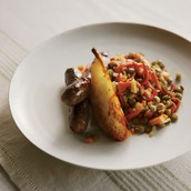Lamb Sausage with Lentils and Sauteed Pears