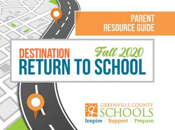 Destination Return to School - Parent Resource Guide - Back to School Information 2020-2021