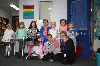 Mrs. Verellen with her Kindergarten class.
