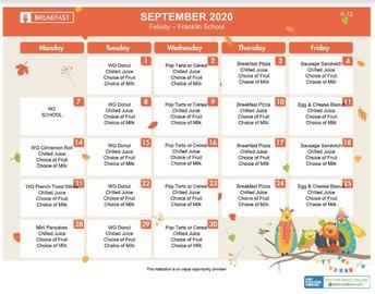 September Lunch Menu